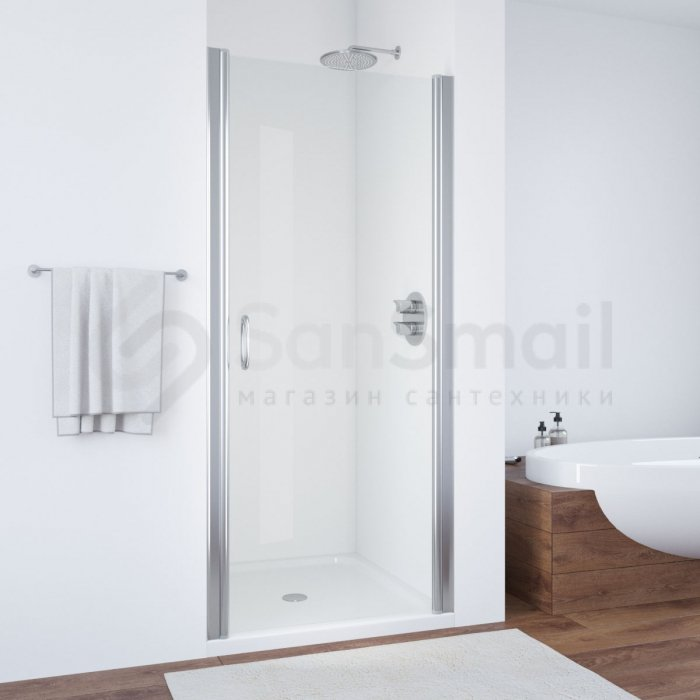 Душевая дверь в нишу Vegas Glass EP 0090 07 01 профиль матовый хром, стекло прозрачное белая мини ванная комната
