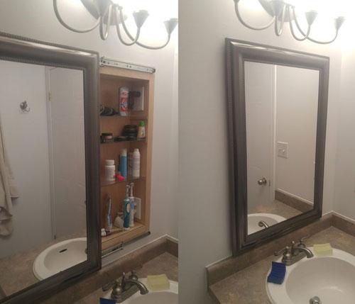 Встраиваемый шкаф с зеркалом в ванную комнату