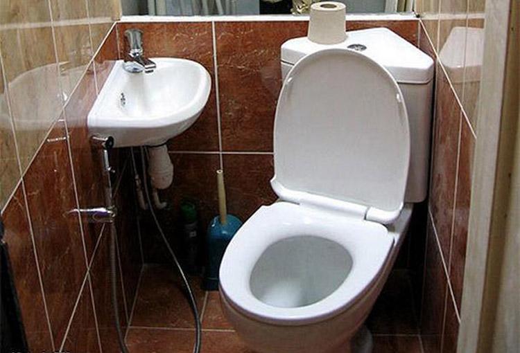 Угловой унитаз в туалете фото